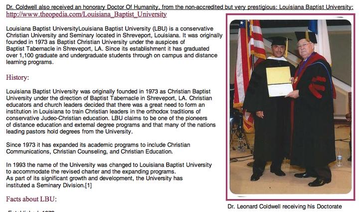 Leonard Coldwell Unaccredited Honorary